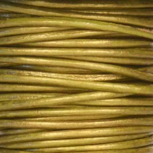 1.5mm Round Leather Cord - Metallic Olive