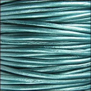 1.5mm Round Leather Cord - Metallic Truly Teal