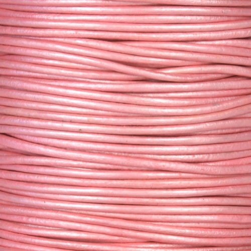 1.5mm Round Leather Cord - Metallic Mystique Pink