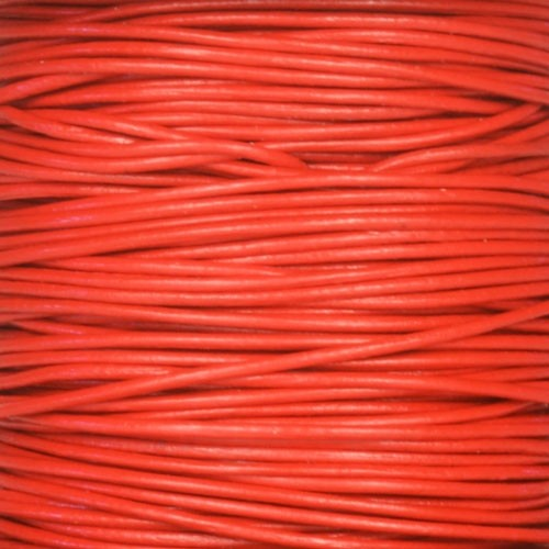 1mm Round Leather Cord - Red