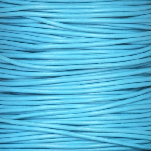 1mm Round Leather Cord - Turquoise