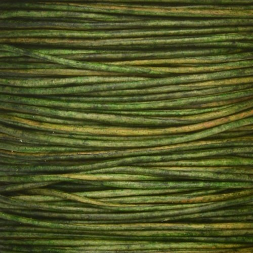 1mm Round Leather Cord - Natural Dark Green