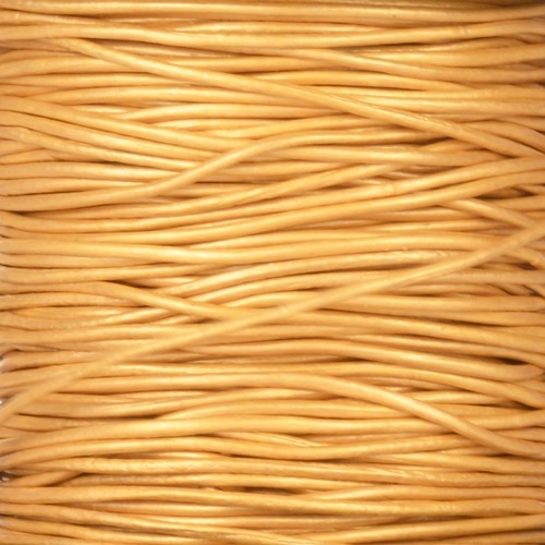 1mm Round Leather Cord - Metallic Gold - per yard