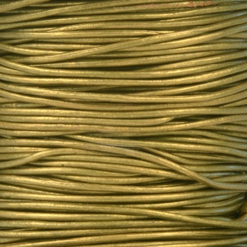1mm Round Leather Cord - Metallic Olive