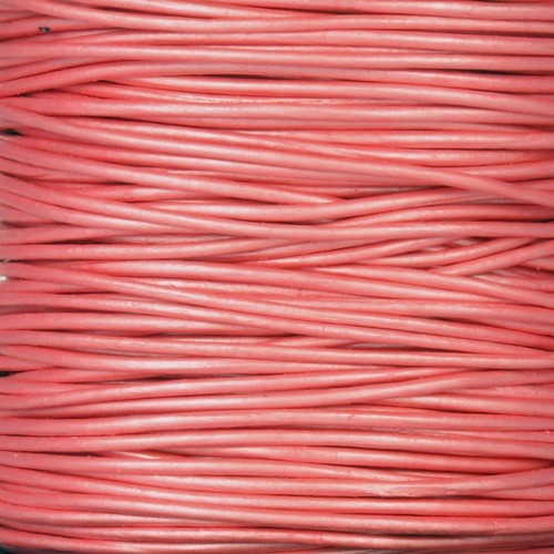 1mm Round Leather Cord - Metallic Mystique Pink - per yard