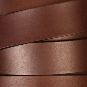 20mm Flat Leather Cord - Dark Brown