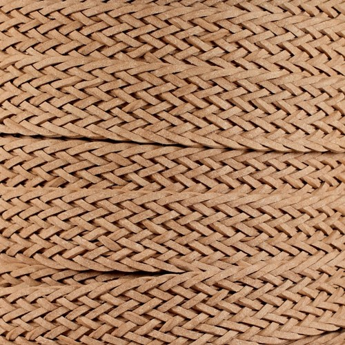 Braided Bonded 20mm Flat Leather Cord - Natural