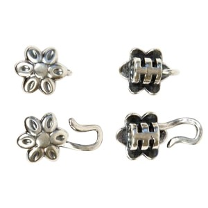 B&B Benbassat 3mm Flower Hook & Eye Clasp (1 pr) - Antique Silver