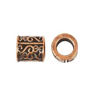 B&B Benbassat 5mm Scrolls Round Leather Cord Slider - Antique Copper