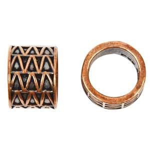 B&B Benbassat 10mm Triangles Round Leather Cord Slide - Antique Copper