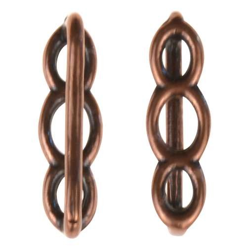 B&B Benbassat 10mm Circles Flat Leather Cord Slider - Antique Copper