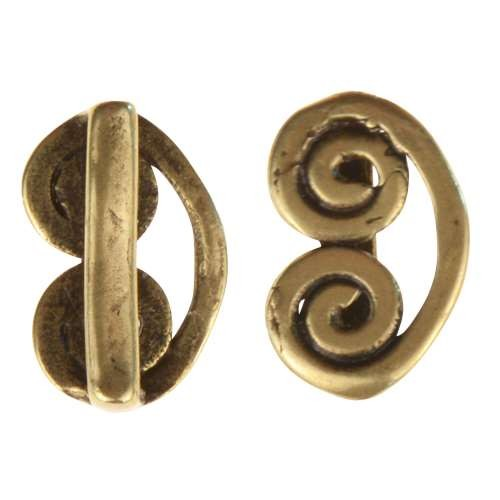 B&B Benbassat 10mm Curlicue Flat Leather Cord Slider - Antique Brass