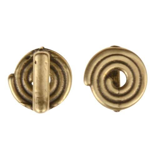 B&B Benbassat 5mm Spiral Flat Leather Cord Slider - Antique Brass