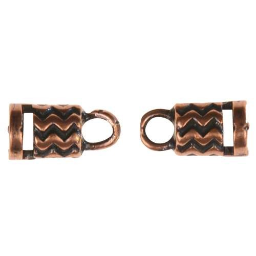 B&B Benbassat 3mm Wavy Lines Round Leather Cord End Cap Loop (2 pcs) - Antique Copper