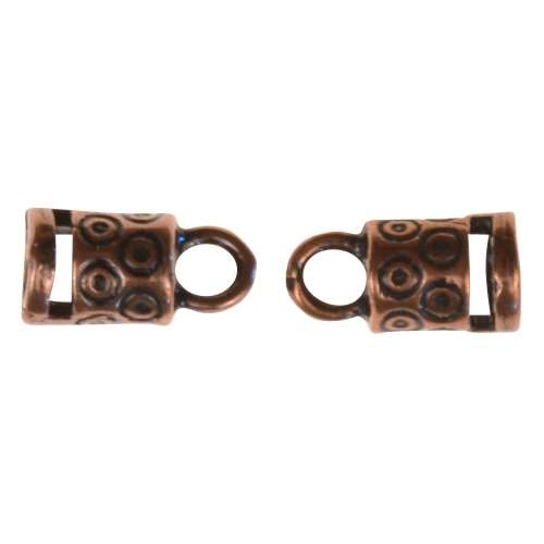 B&B Benbassat 3mm Circle Dots Round Leather Cord End Cap Loop (2 pcs) - Antique Copper