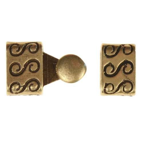B&B Benbassat 3mm S Swirl Round Leather Cord Hook & Slider (2 pcs) - Antique Brass