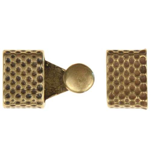 B&B Benbassat 3mm Honeycomb Round Leather Cord Hook & Slider (2 pcs) - Antique Brass