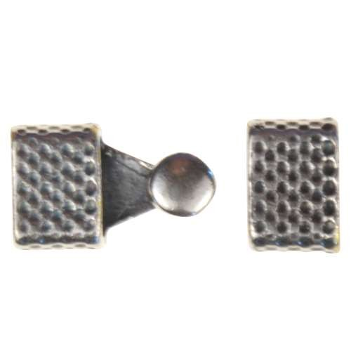 B&B Benbassat 3mm Honeycomb Round Leather Cord Hook & Slider (2 pcs) - Antique Silver