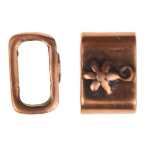 B&B Benbassat 5mm Flower Leather Cord Slider - Antique Copper