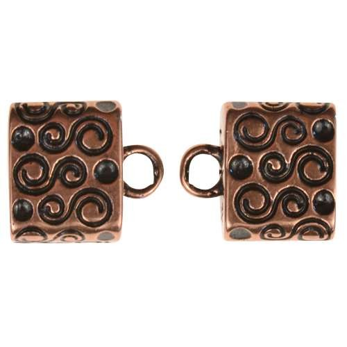 B&B Benbassat 10mm S Swirl Large Hole End Cap (2) - Antique Copper