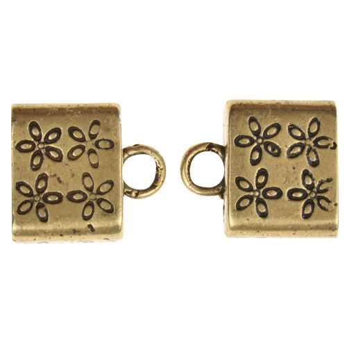 B&B Benbassat 10mm Flower Large Hole End Cap (2) - Antique Brass