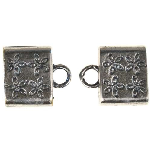 B&B Benbassat 10mm Flower Large Hole End Cap (2) - Antique Silver