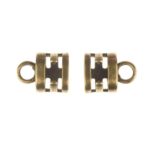 B&B Benbassat 3mm Double Round Leather Cord Crimp End Cap (2) - Antique Brass