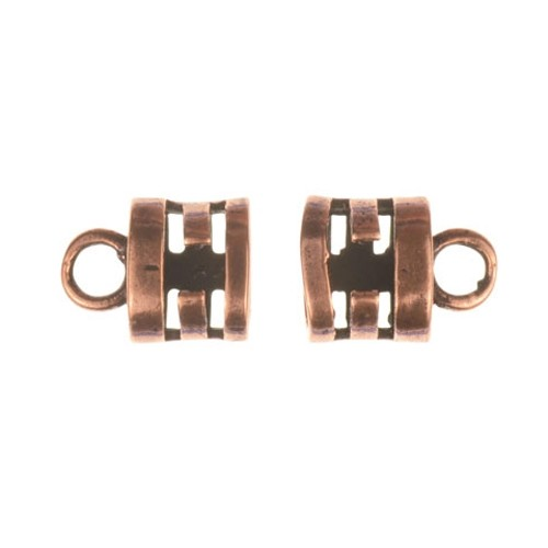 B&B Benbassat 3mm Double Round Leather Cord Crimp End Cap (2) - Antique Copper