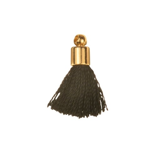 17mm Tassel Gold Plated Cap - Black