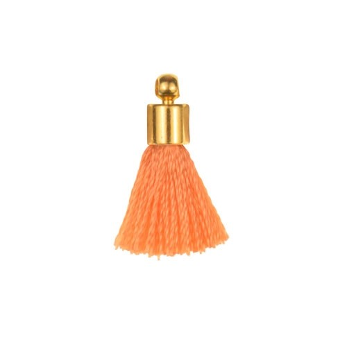 17mm Tassel Gold Plated Cap - Coral