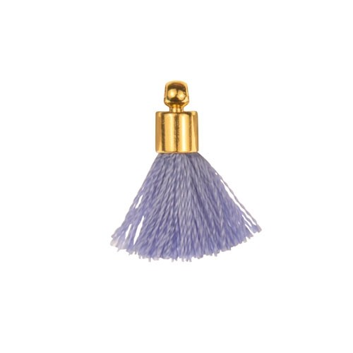 17mm Tassel Gold Plated Cap - Periwinkle