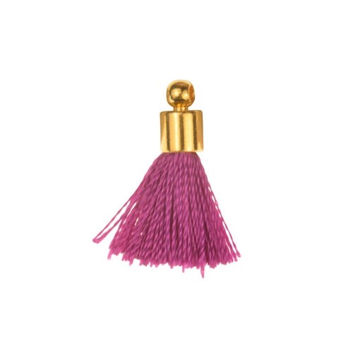 17mm Tassel Gold Plated Cap - Purple