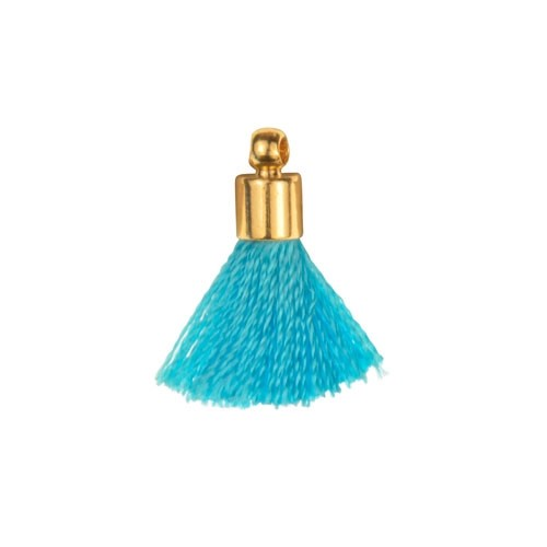 17mm Tassel Gold Plated Cap - Turquiose