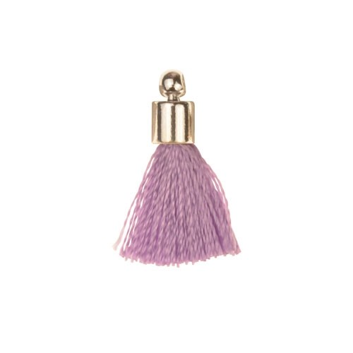 17mm Tassel Silver Plated Cap - Lavender