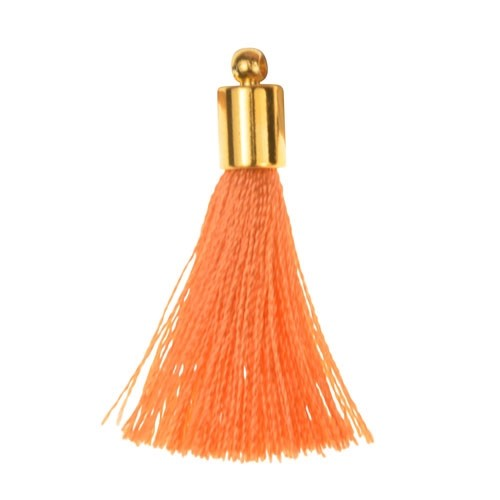 30mm Tassel Gold Plated Cap - Coral