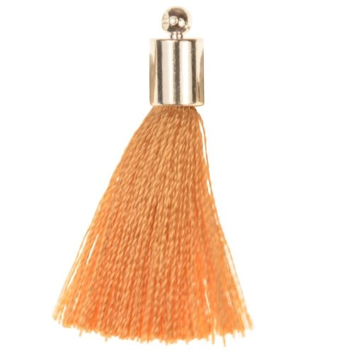 30mm Tassel Silver Plated Cap - Beige
