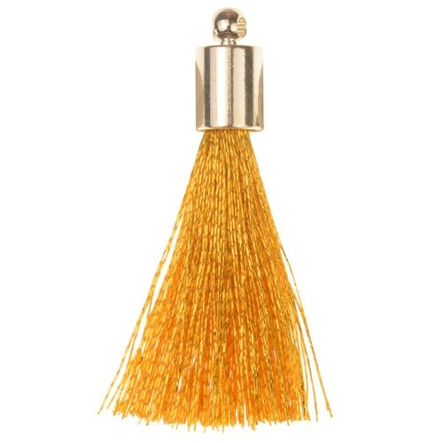 30mm Tassel Silver Plated Cap - Gold