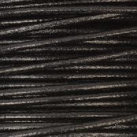2mm Round Leather Cord - Black