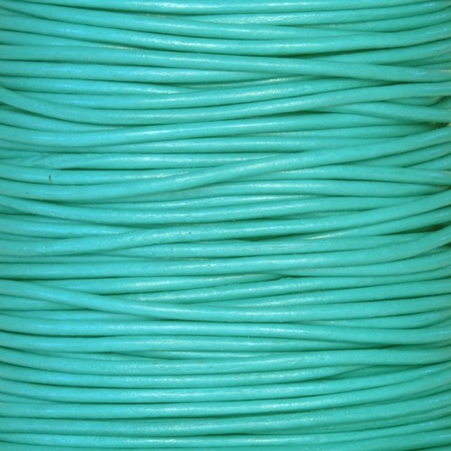 2mm Round Leather Cord - Turquoise - per foot