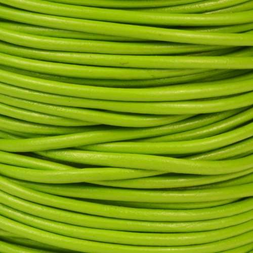 2mm Round Leather Cord - Apple Green