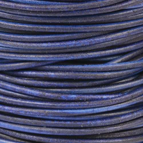 2mm Round Leather Cord - Natural Blue