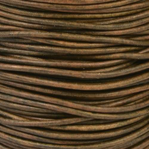 2mm Round Leather Cord - Natural Dark Green