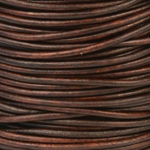 2mm Round Leather Cord - Natural Antique Brown