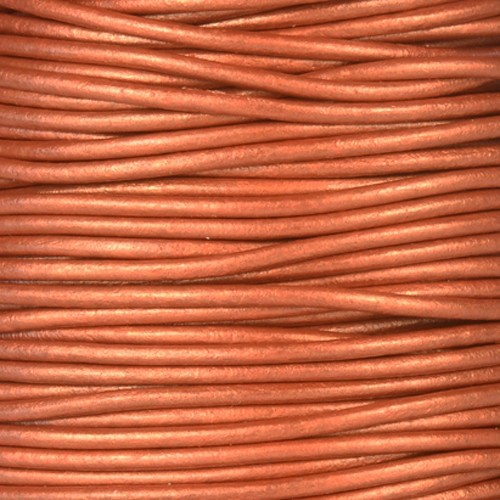 2mm Round Leather Cord - Metallic Red Copper - per foot