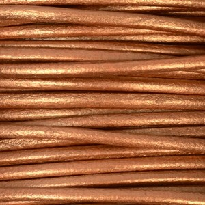 2mm Round Leather Cord - Metallic Copper