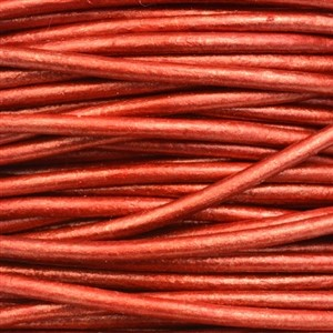 2mm Round Leather Cord - Metallic Moroccan Red