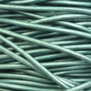 2mm Round Indian Leather Cord - Metallic Truly Teal - per foot