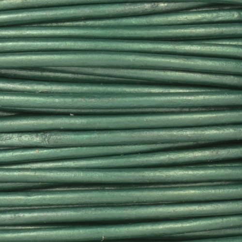 2mm Round Leather Cord - Metallic Ocean Green - per foot