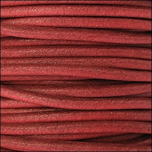 2mm Round Euro Leather Cord - Burnt Red