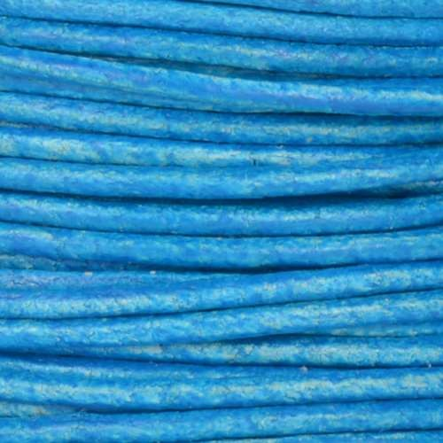 2mm Round Euro Leather Cord - Distressed Turquoise - per foot